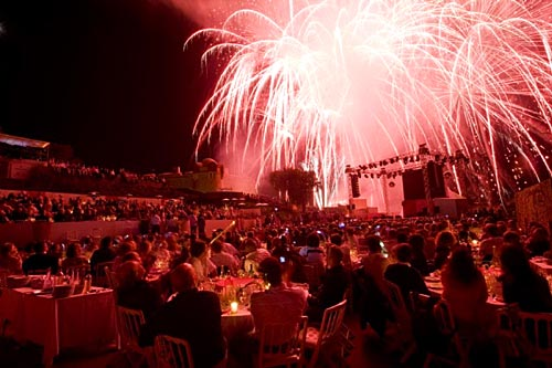 Fireworks set to music in the St Tropez citadel
