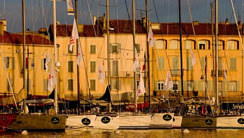 Race yachts in St Tropez Harbour